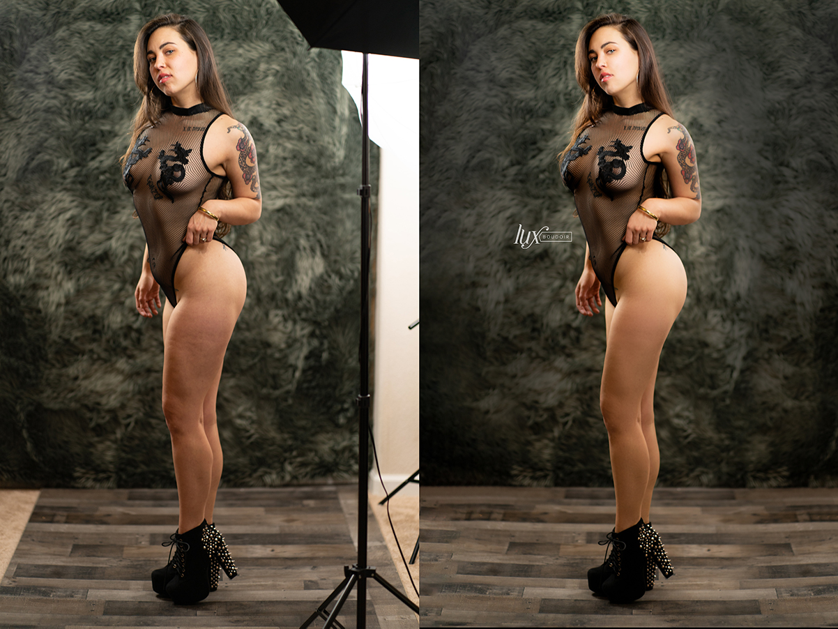 before and after photo editing lux boudoir